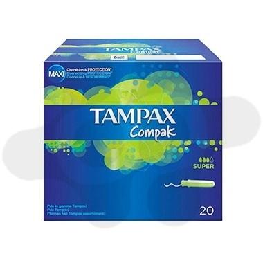TAMPONES 100%ALGODON TAMPAX COMPAK SUPER 20 U