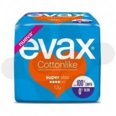 COMPRESAS TOCOLOGICAS EVAX COTTONLIKE SUPER CON ALAS 12 COMPRESAS